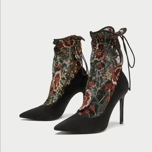 New Zara Embroidered Stocking Style High Heels
